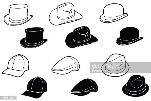 hats and caps - cap hat stock illustrations, clip art, cartoons, & icons