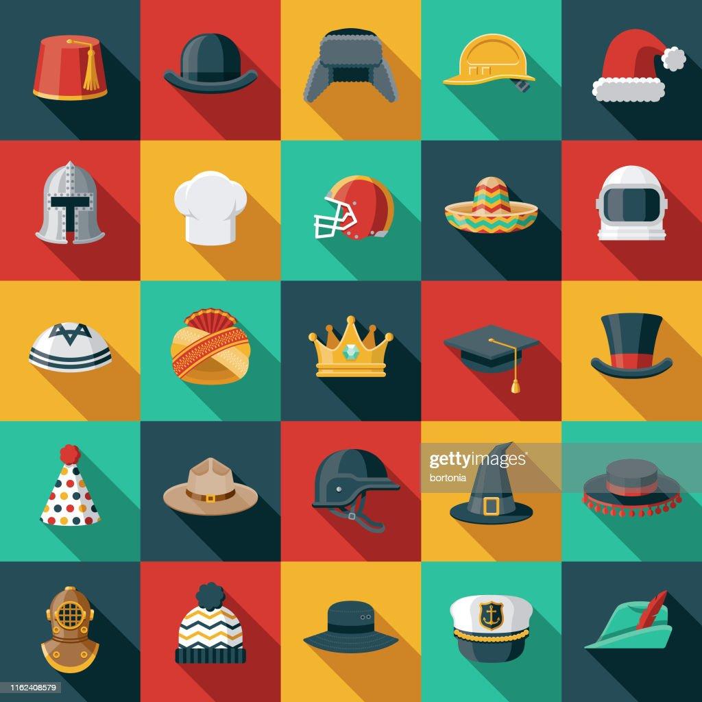 Hats and Helmets Flat Design Icon Set : Ilustração de stock
