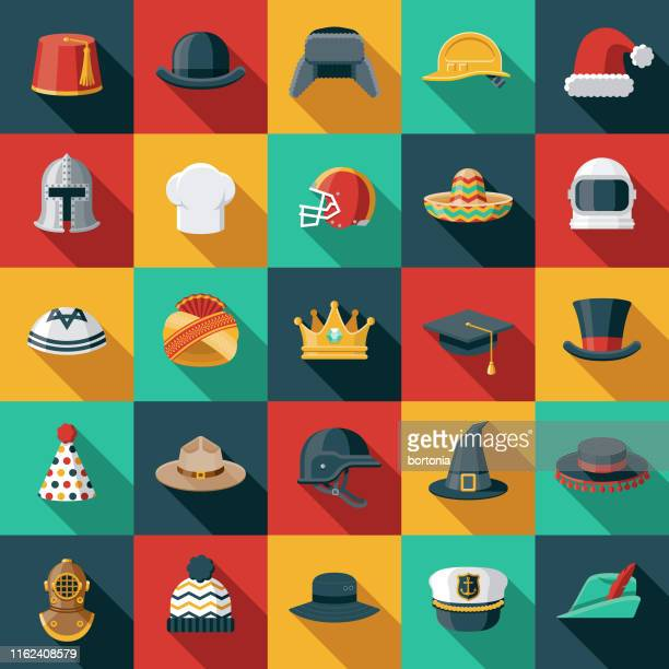 hats and helmets flat design icon set - hat stock illustrations