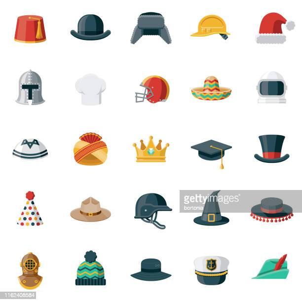 帽子とヘルメットフラットデザインアイコンセット - セーラーハット点のイラスト素材/クリップアート素材/マンガ素材/アイコン素材