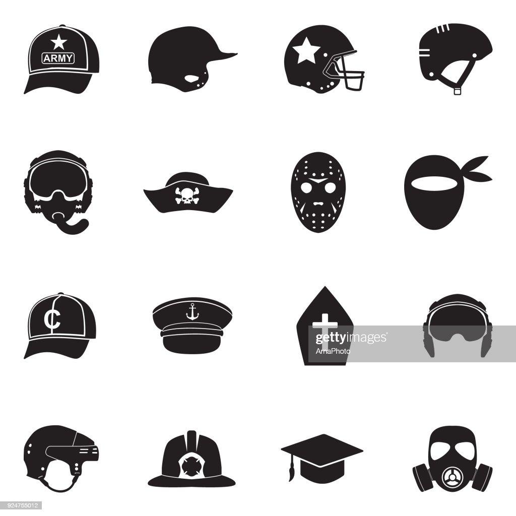 Hats And Masks Icons. Black Flat Design. Vector Illustration.