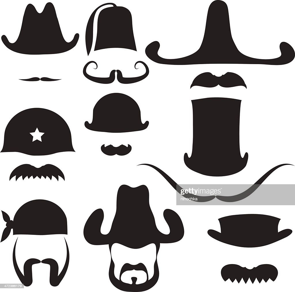 Hats and Mustaches : stock illustration