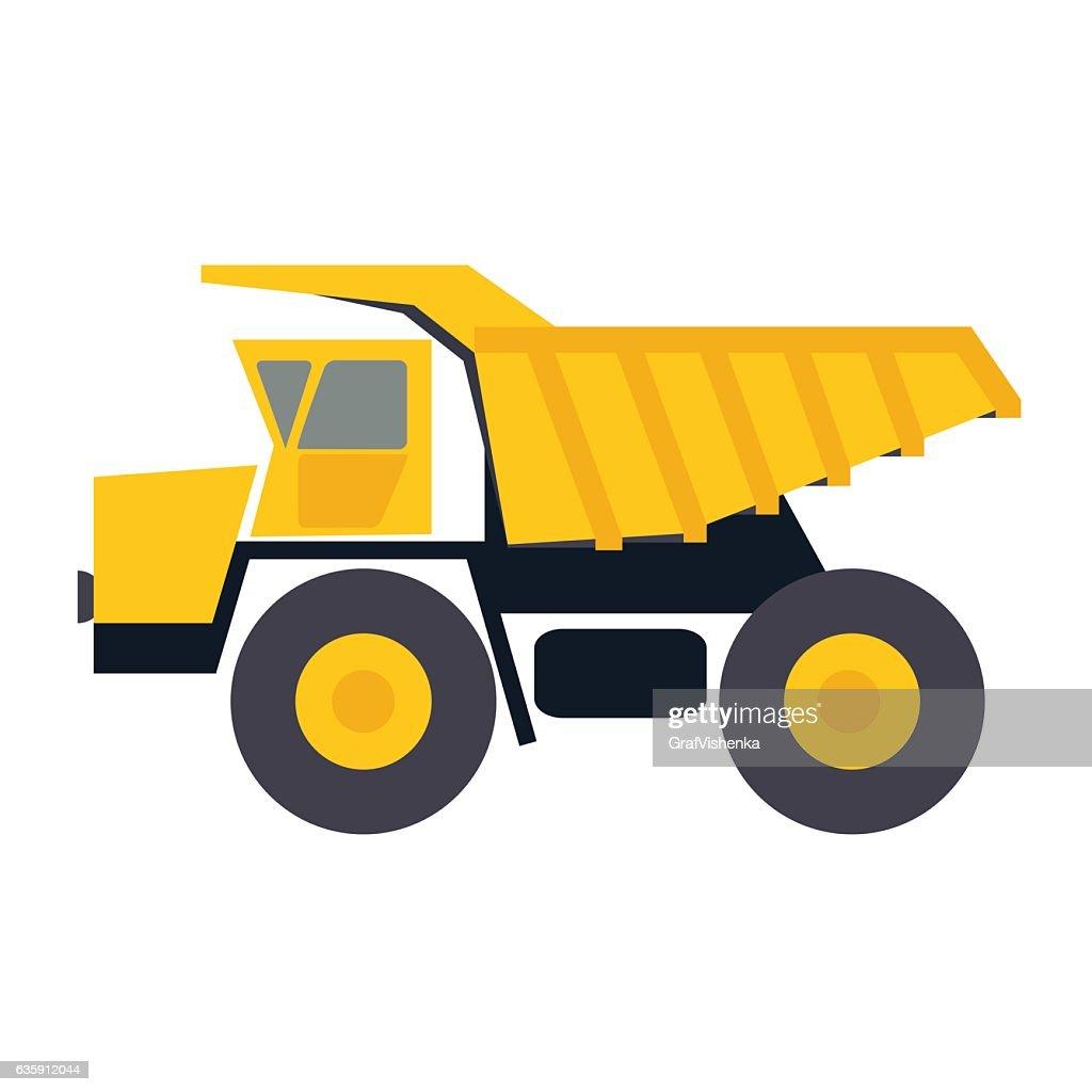 Haul or dump truck vector icon. Dumper or tipper symbol