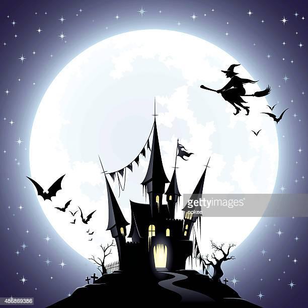 ilustraciones, imágenes clip art, dibujos animados e iconos de stock de castillo de miedo con conexión de brujas - bruja