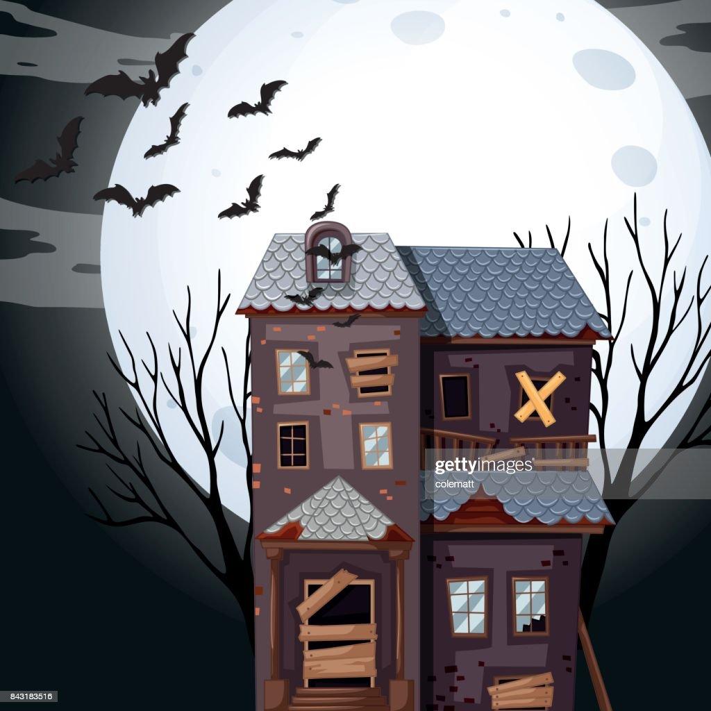 Haunted house on fullmoon night