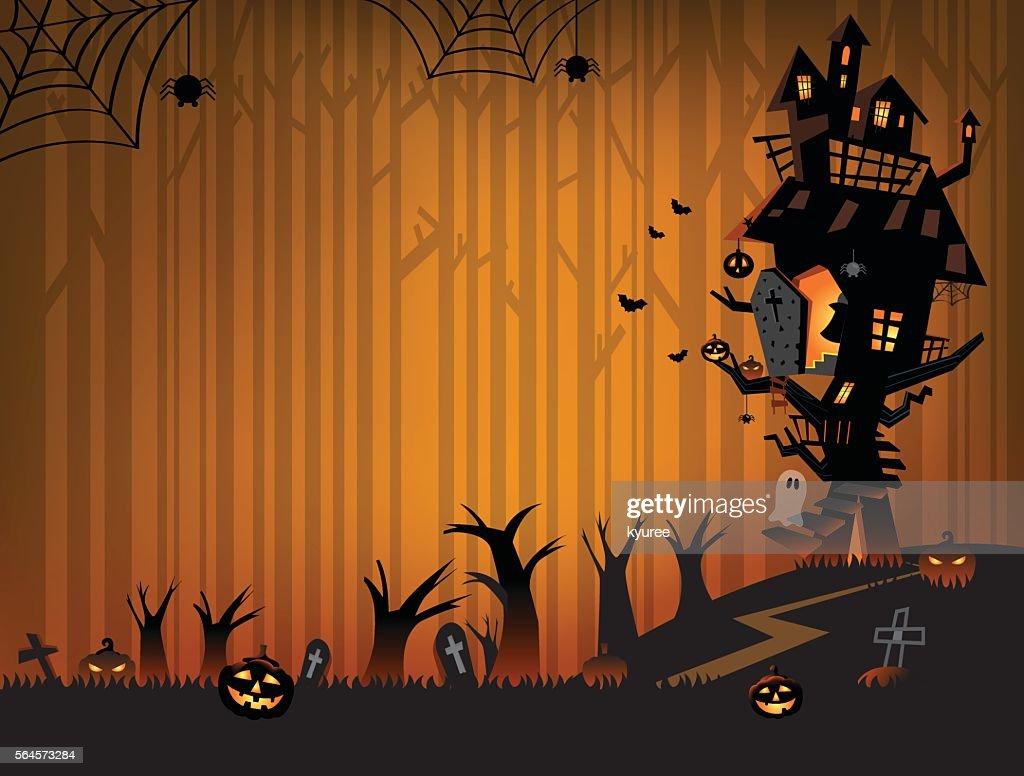 Haunted house on Halloween night C