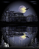 Haunted house with lake, skulls, and bat under full moon, vector illustration for Halloween.