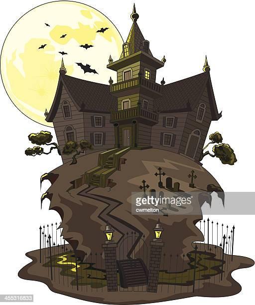 haunted mansion - moat stock illustrations