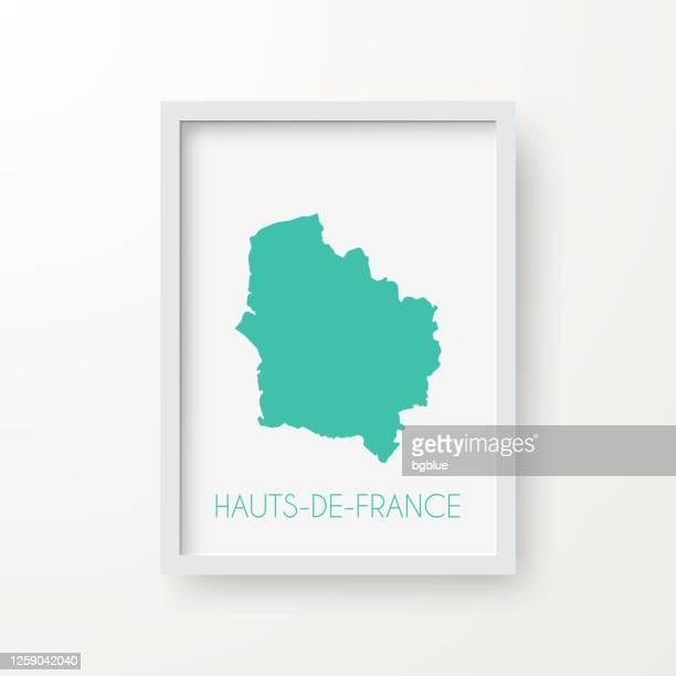 白い背景のフレーム内のオー・ド・フランスの地図 - オードフランス地域圏点のイラスト素材/クリップアート素材/マンガ素材/アイコン素材