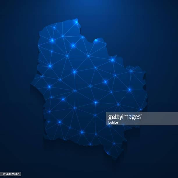 オー・ド・フランス地図ネットワーク - ダークブルーの背景に明るいメッシュ - オードフランス地域圏点のイラスト素材/クリップアート素材/マンガ素材/アイコン素材