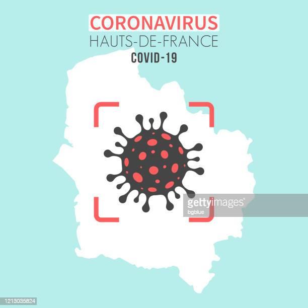 赤いファインダーでコロナウイルス細胞(covid-19)を持つオー・ド・フランスの地図 - オードフランス地域圏点のイラスト素材/クリップアート素材/マンガ素材/アイコン素材