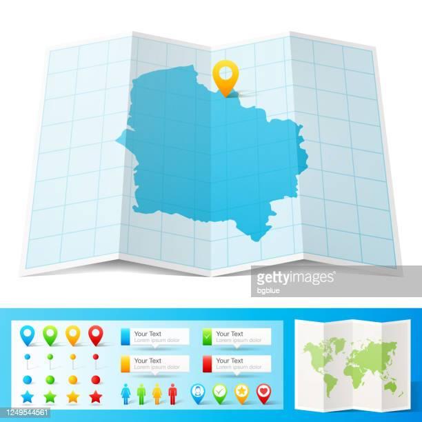 白い背景に分離された場所のピンとオー・ド・フランス地図 - オードフランス地域圏点のイラスト素材/クリップアート素材/マンガ素材/アイコン素材