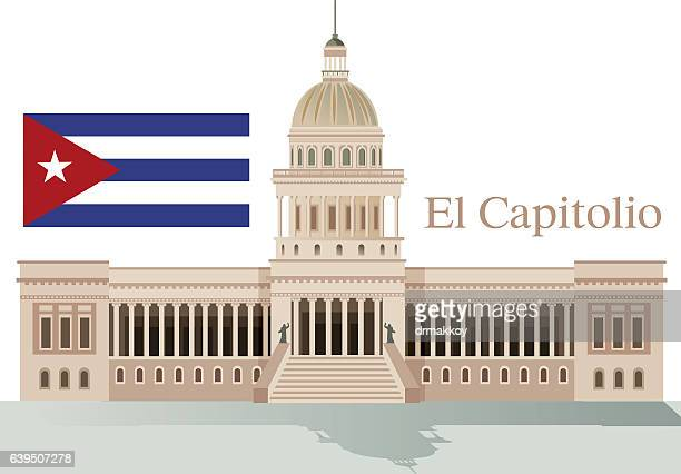 havana capitol building - cuban culture stock illustrations, clip art, cartoons, & icons