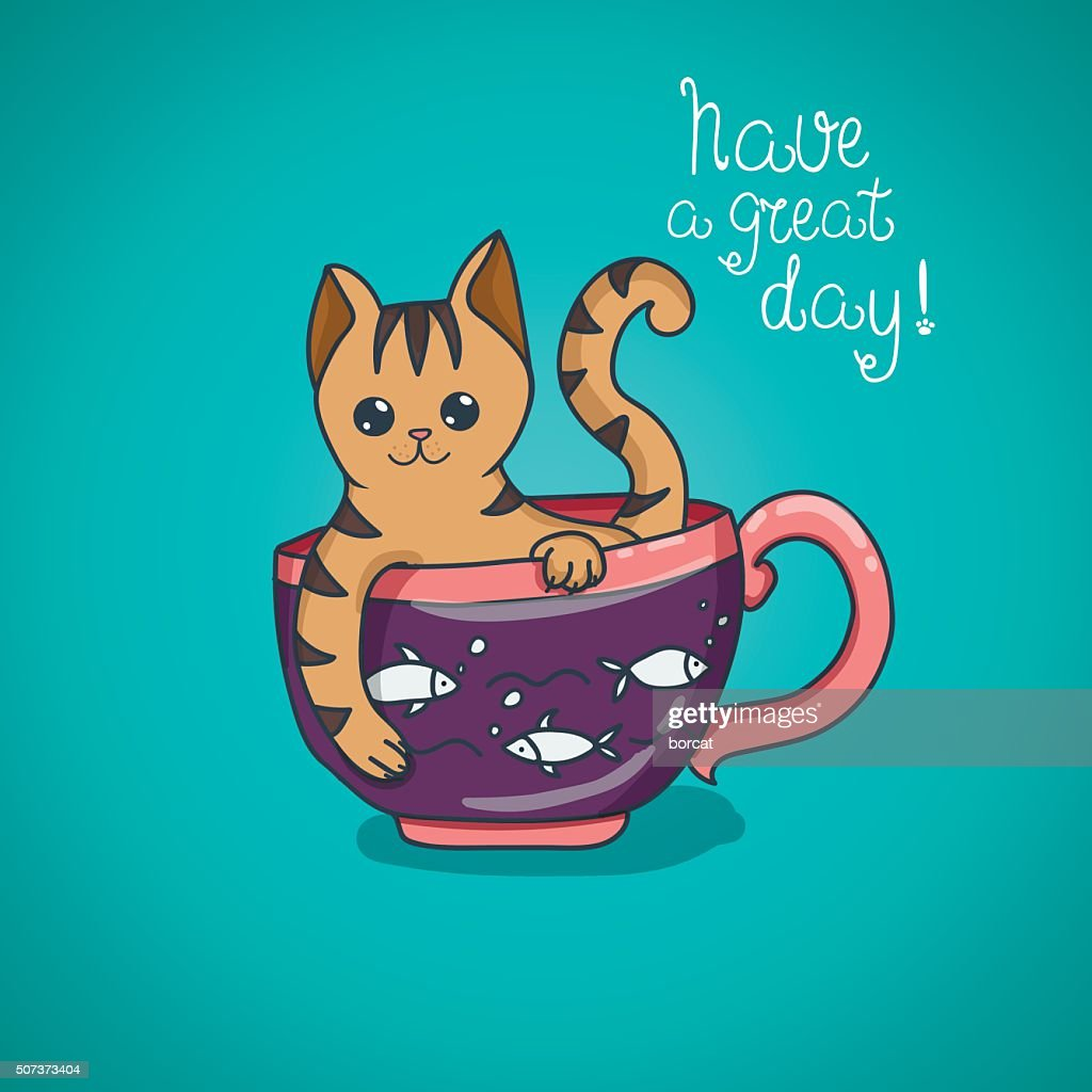 Have a nice day cute cat doodle