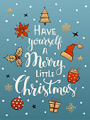 have yourself a merry little christmas handwritten typographic poster greeting card