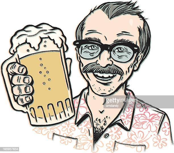 hawaii beer time, vacation style! - hawaiian shirt stock illustrations