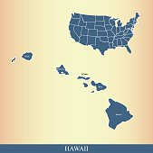 Hawaii county map outline vector illustration in creative design