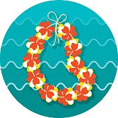 Hawaii flowers necklace, wreath icon. Vacation