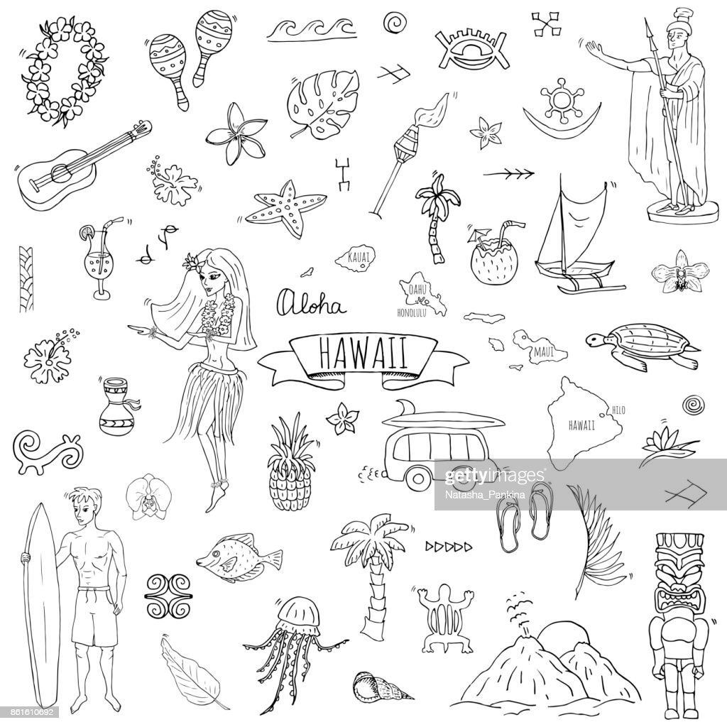 Hawaii icons set