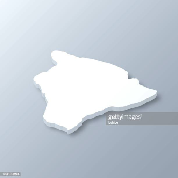hawaii insel 3d-karte auf grauem hintergrund - hawaii inselgruppe stock-grafiken, -clipart, -cartoons und -symbole