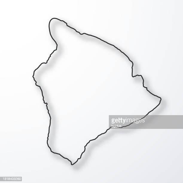hawaii inselkarte - schwarzer umriss mit schatten auf weißem hintergrund - hawaii inselgruppe stock-grafiken, -clipart, -cartoons und -symbole