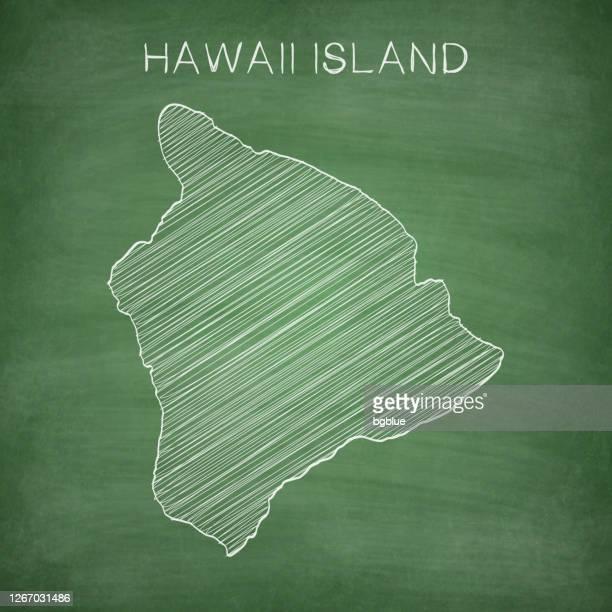 hawaii inselkarte an der tafel gezeichnet - tafel - hawaii inselgruppe stock-grafiken, -clipart, -cartoons und -symbole