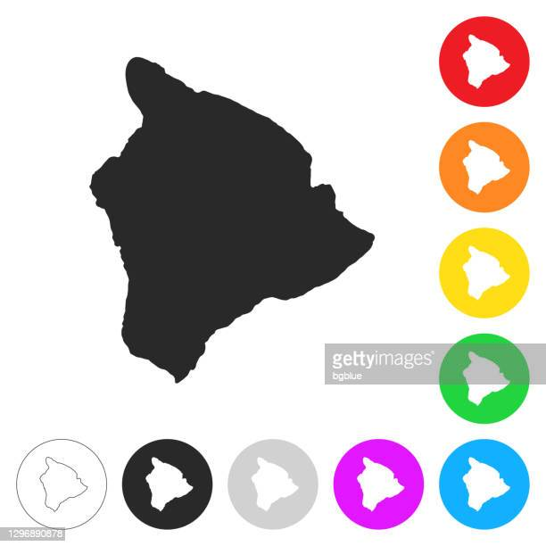 hawaii inselkarte - flache symbole auf verschiedenen farbtasten - hawaii inselgruppe stock-grafiken, -clipart, -cartoons und -symbole