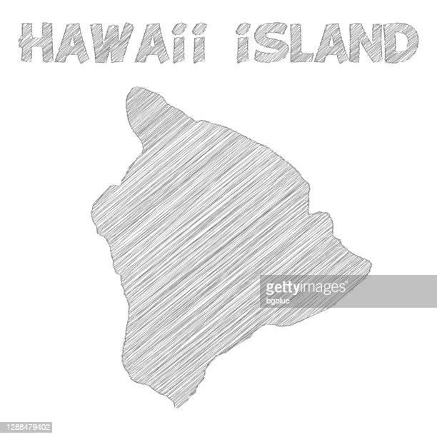 hawaii insel karte handgezeichnet auf weißem hintergrund - hawaii inselgruppe stock-grafiken, -clipart, -cartoons und -symbole