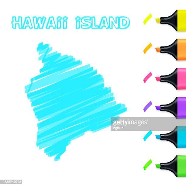 hawaii inselkarte handgezeichnet mit blauem textmarker auf weißem hintergrund - hawaii inselgruppe stock-grafiken, -clipart, -cartoons und -symbole