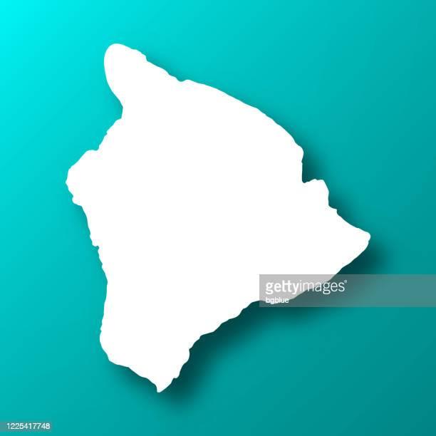 hawaii inselkarte auf blau-grünem hintergrund mit schatten - hawaii inselgruppe stock-grafiken, -clipart, -cartoons und -symbole
