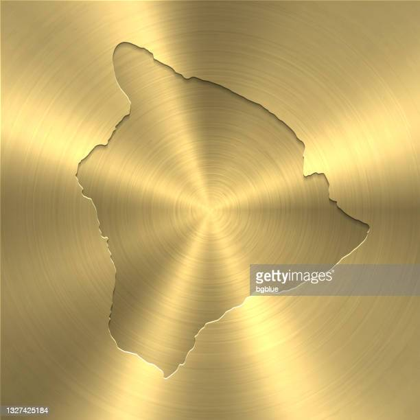 hawaii insel karte auf gold hintergrund - kreis gebürstet metall textur - hawaii inselgruppe stock-grafiken, -clipart, -cartoons und -symbole