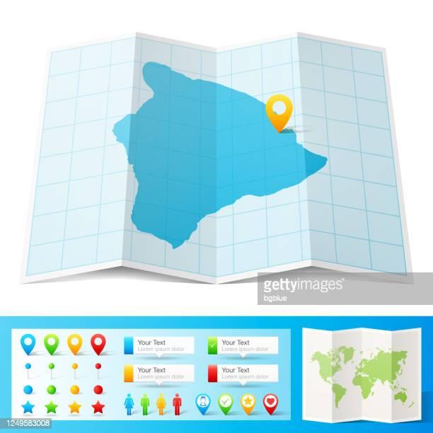 hawaii insel karte mit standort pins isoliert auf weißem hintergrund - hawaii inselgruppe stock-grafiken, -clipart, -cartoons und -symbole