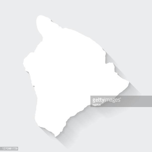 hawaii inselkarte mit langem schatten auf leerem hintergrund - flat design - hawaii inselgruppe stock-grafiken, -clipart, -cartoons und -symbole