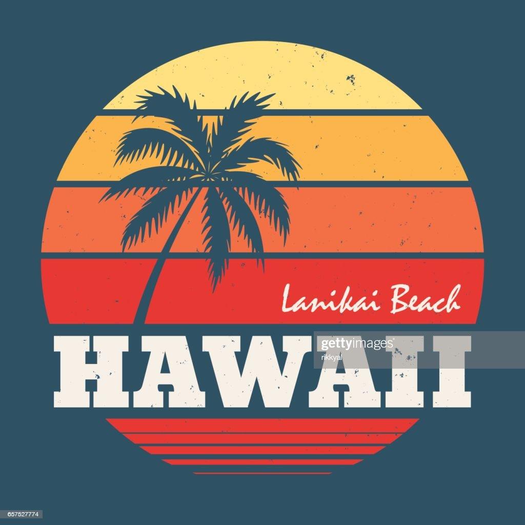 Hawaii Lanikai beach tee print with palm tree.