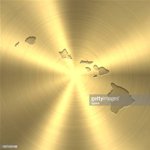 hawaii map on gold background - circular brushed metal texture - honolulu stock illustrations
