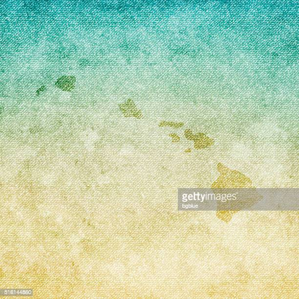 hawaii map on grunge canvas background - honolulu stock illustrations