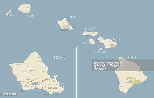 ハワイのマップ - オアフ島点のイラスト素材/クリップアート素材/マンガ素材/アイコン素材