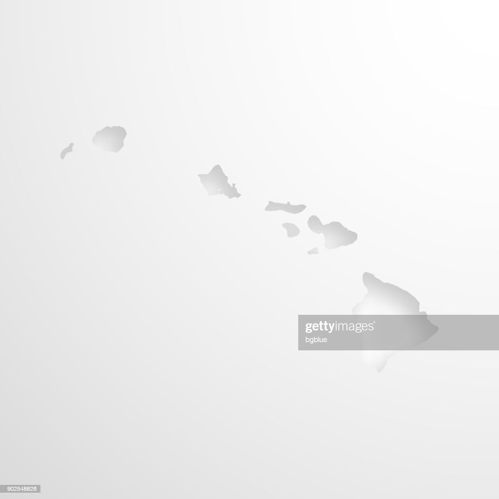 Hawaii Map With Embossed Paper Effect On Blank Background Vector Art