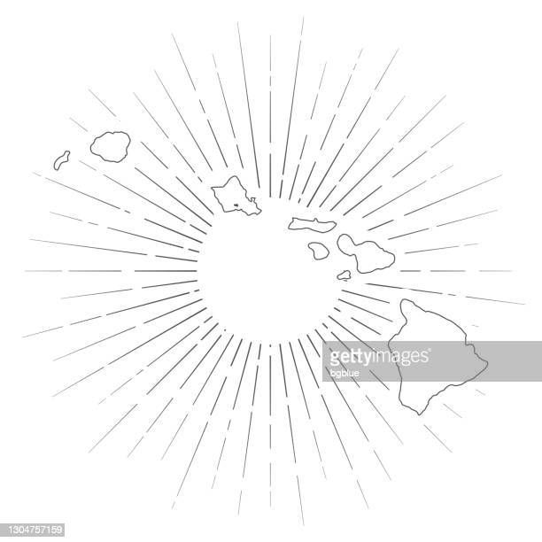 hawaii map with sunbeams on white background - honolulu stock illustrations