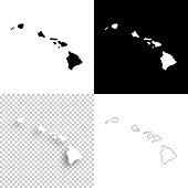 Hawaii maps for design - Blank, white and black backgrounds