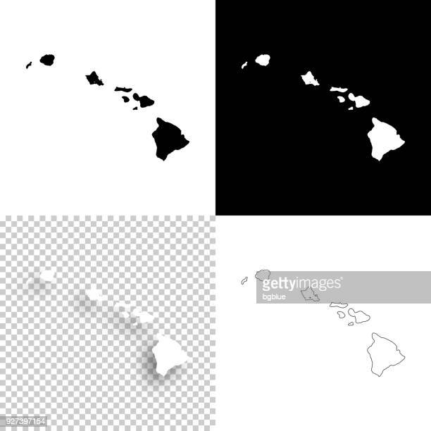 hawaii maps for design - blank, white and black backgrounds - hawaii islands stock illustrations