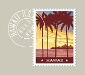 Hawaii postage stamp design. Tall palm trees at sunset.