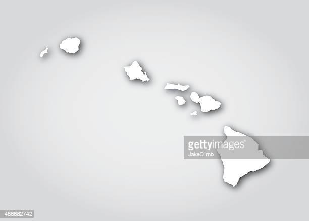 hawaii silhouette white - honolulu stock illustrations