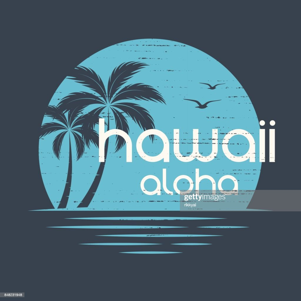 Hawaii Sunset. T-shirt and apparel vector design, print, typography, poster, emblem with palm trees.
