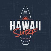 Hawaii surf. T-shirt and apparel design