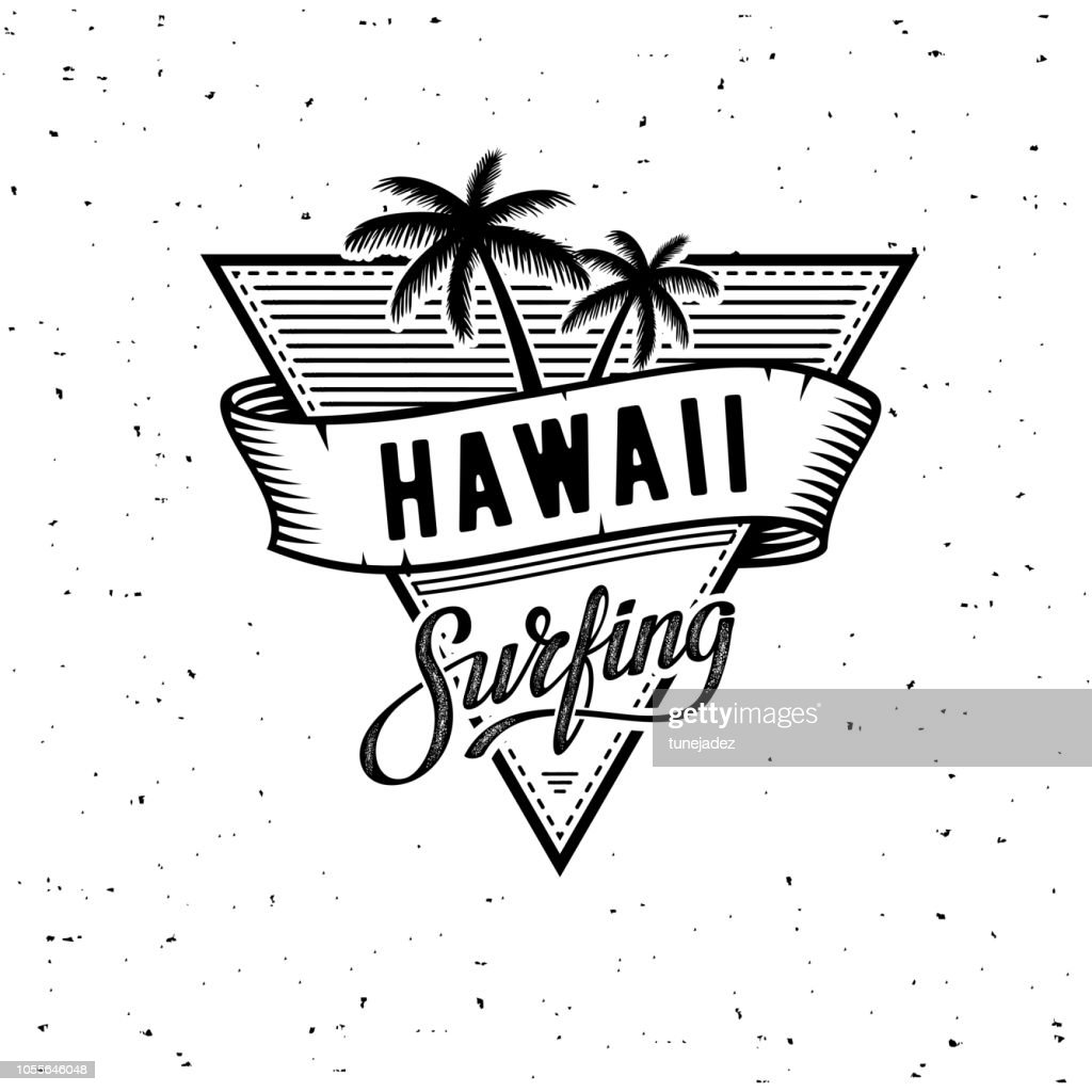 Hawaii Surfing WB Vector illustration on the theme of surf and surfing in Hawaii.
