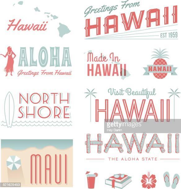 hawaii text - big island hawaii islands stock illustrations