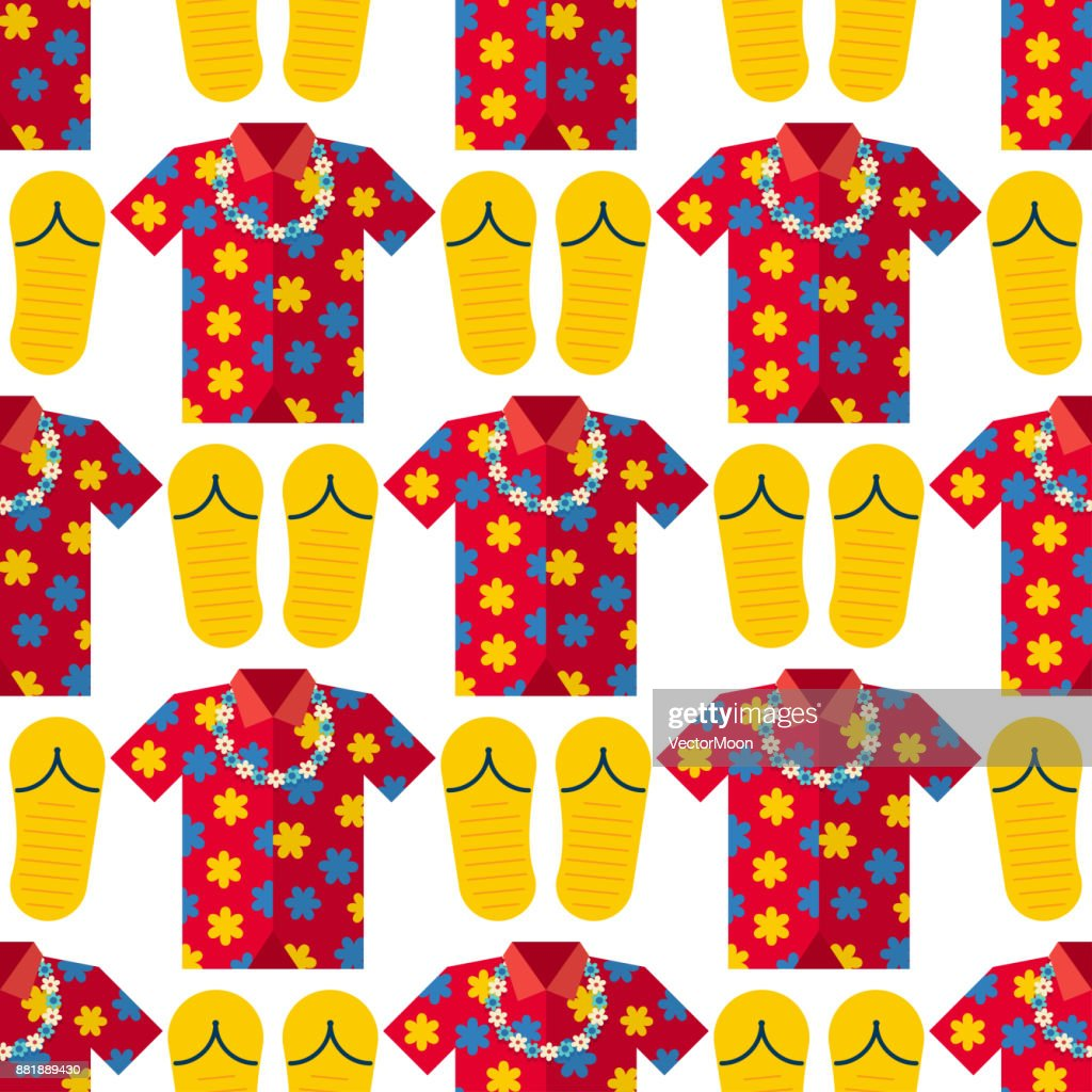 Hawaii t-shirt summer vector clothe and beach slippers hawaii style boots illustration seamless pattern