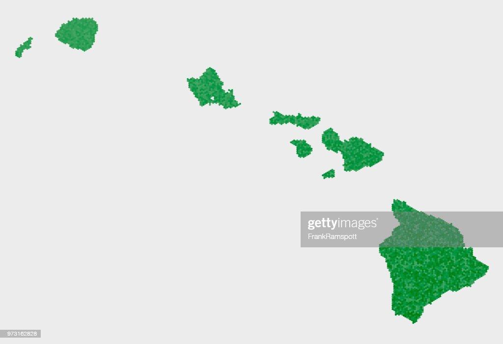 Hawaii State USA Karte grünen Sechseck-Muster : Vektorgrafik