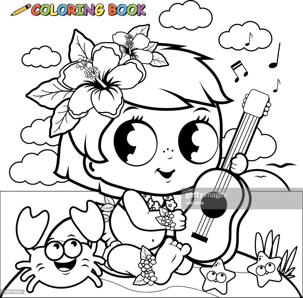 Hawaiian baby girl on an island playing the ukulele.